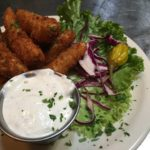 Fried Dill Spears with Green Onion Dressing